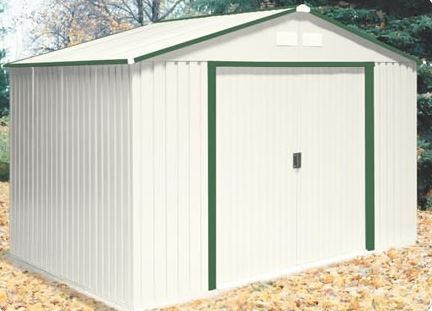 Duramax 10x8 Del Mar Metal Shed Foundation Green Trim Metal Shed Cheap Storage Sheds Diy Storage Shed Plans