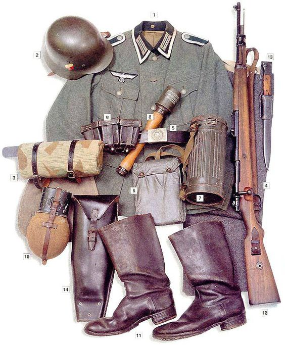 "German corporal (unteroffizier) uniform. 01 - M-35 field jacket with Unteroffizier's insignia  02 - M-35 steel helmet with Heeres markings  03 - Zeltbahn M-31 tent cloth in ""Splittermuster"" camo  04 - Grey (""Steingrau"") trousers  05 - leather belt  06 - anti-mustard gas cloth  07 - M-38 gas mask  08 - M-24 grenade  09 - black leather ammo pouches  10 - M-31 aluminium canteen  11 - boots  12 - 7,92 mm Mauser 98k rifle  13 - Seitengewehr 84/98 bayonet  14 - wire cutting shears"