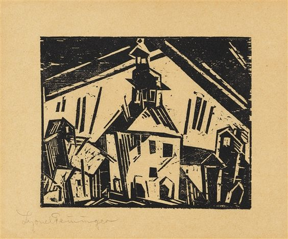 Lyonel Feininger Rathaus von Zottelstedt, 1 Dimensions:  8.8 X 11.2 in (22.35 X 28.45 cm) Medium:  Woodcut on firm brownish wove paper Creation Date:  1918 Signed