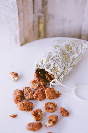 Love this for a southern wedding favor! Pecans in a little muslim bag ...