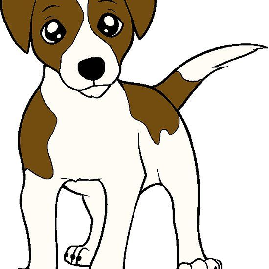 Russell Terrier White With Brown Markings Cartoon Russell