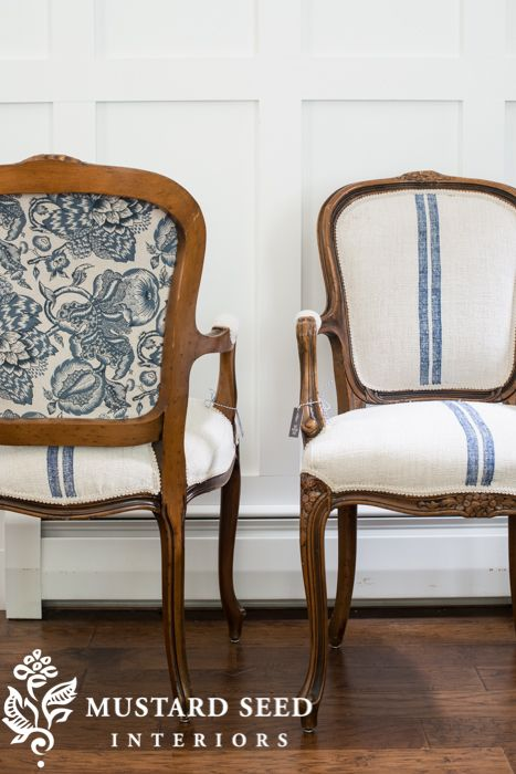 the French twins - Love, Love, Love, These grain sacks upholstery chairs!! Classic Miss Mustard Seed <3