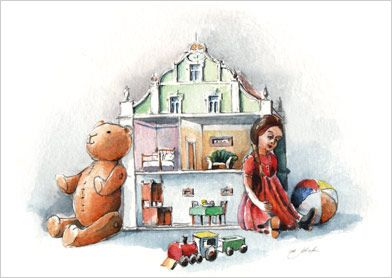 Klappkarte- Puppenhaus Geschenke