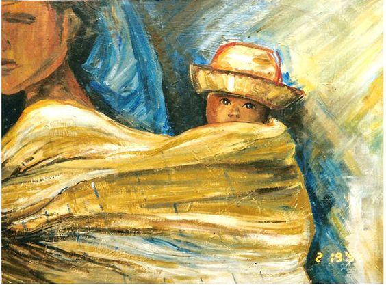 maternidade- acrílico sobre tela artista  Nancy Szaz