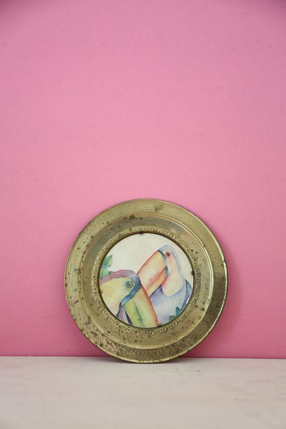 Parrot Metal Decorative Plate #1