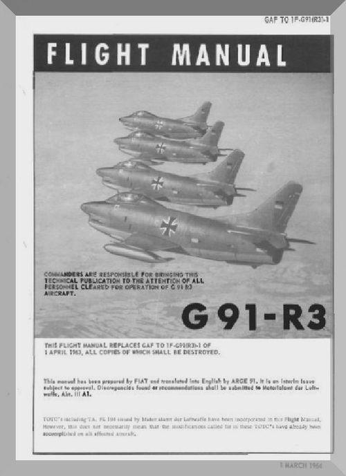 Aeritalia Fiat G 91 R3 Aircraft Flight Manual English Language Gaf 1f G91 R3 1 1963 1964 Fiat Aircraft Blueprints