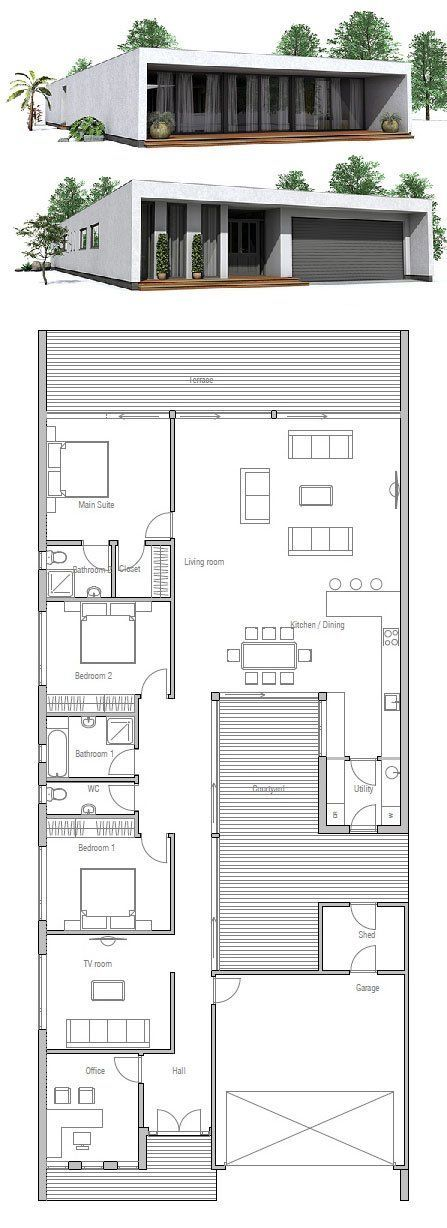 Very Narrow House Small Private Courtyard Floor Plan From Concepthome Com Homefloor Plans Pinterest Narrow House House And Bedrooms