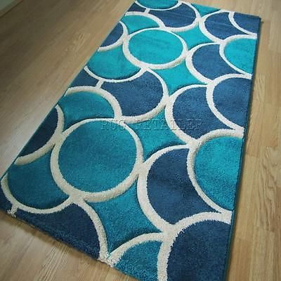 Select Circles Rugs Turquoise Blue Modern Quality Wilton