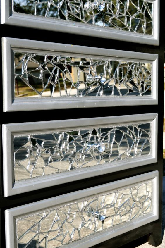 Mirrored mosaic tall dresser be cool mosaics and broken for Cracked mirror tiles