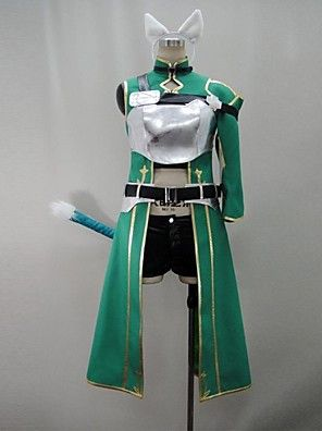 Inspired by Sword Art Online Shino Anime Cosplay Costumes Cosplay Suits Patchwork Green 3/4-Length SleeveCoat / Pants / Armlet / More