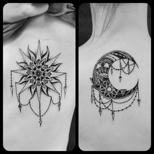 Sun&moon tattoos done by Rabbit at Ascending Lotus TattooVancouver, WA