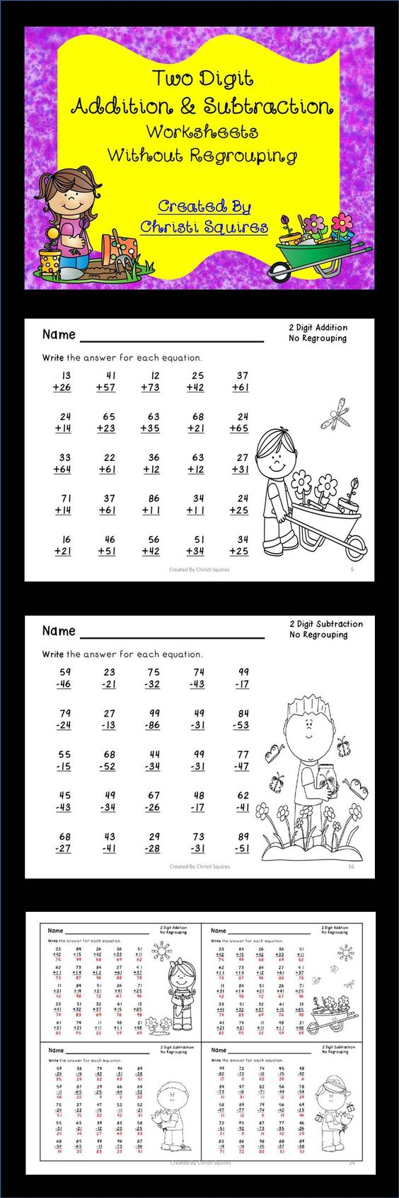math worksheet : two digit addition  subtraction worksheets without regrouping  : Adding And Subtracting Two Digit Numbers With Regrouping Worksheets