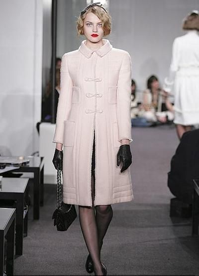 Black leather gloves, Pink CHANEL Coat, black stockings, black shoes, black bag