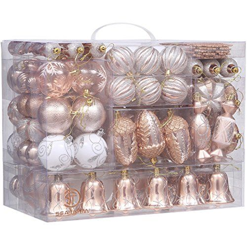 Sea Team 155 Pack Assorted Shatterproof Christmas Ball Or Ht Gold Christmas Ornaments Diy Christmas Decorations Dollar Store Rose Gold Christmas Decorations
