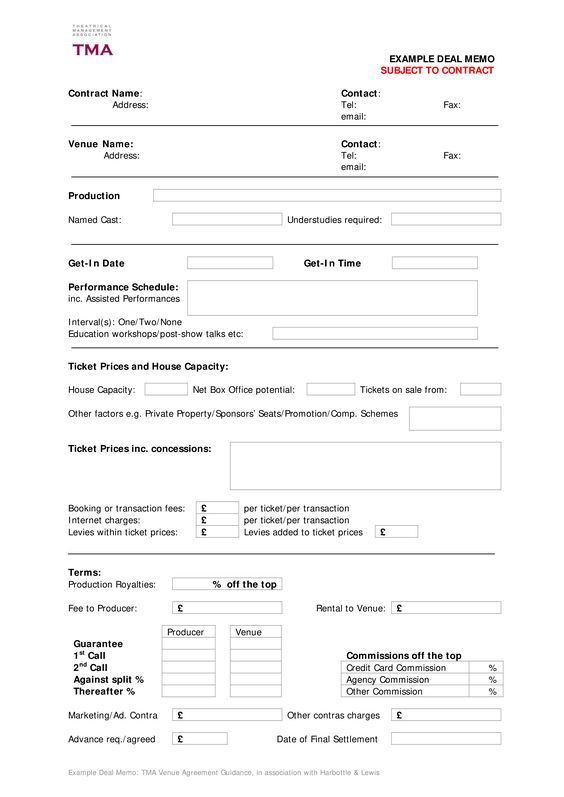 Contract Deal Memo Template - Download this Contract Deal Memo - memo templete