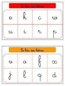 """loto des lettres dans les 3 écritures sur """"dessine moi une histoire"""""""