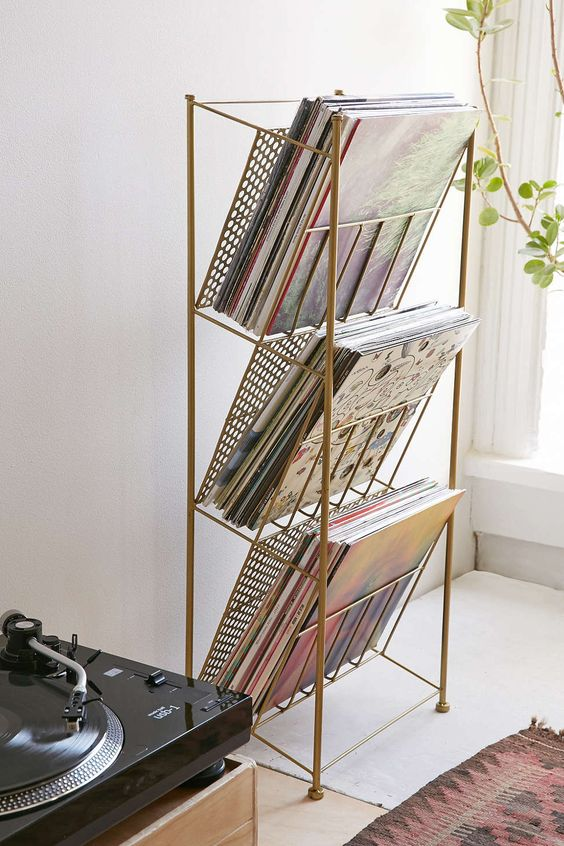 Corner Store Vinyl Record Rack- would be good for all my notebooks and sketchbooks