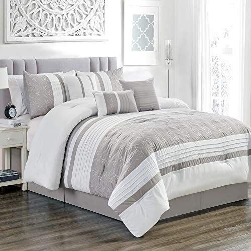 Grandlinen 7 Piece Grey White Gray Floral Embroidered Bed In A Bag Luxury Comforter Set Queen Size Beddin Beautiful Bedding Sets White Bedding Comforter Sets