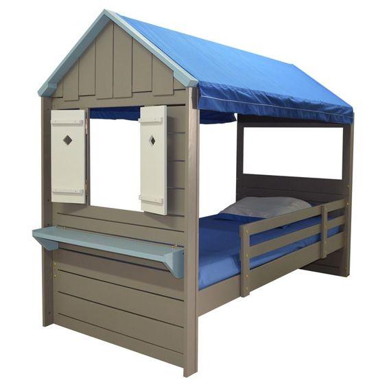 lit cabane enfant pm loutre et bleu lit cabane pinterest. Black Bedroom Furniture Sets. Home Design Ideas