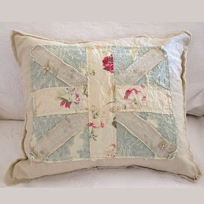 Union Jack shabby chic pillow by Rachel Ashwell no longer available -- link to similar pillow by ...