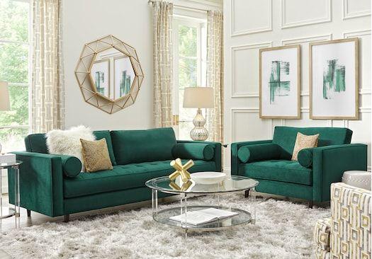 Sofia Vergara Pacific Palisades Emerald Plush 2 Pc Living Room Green Living Room Decor Green Furniture Living Room Emerald Green Living Room