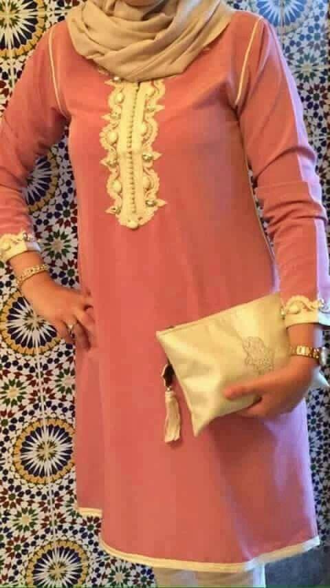 mini jellaba avec pantalon rose et doré