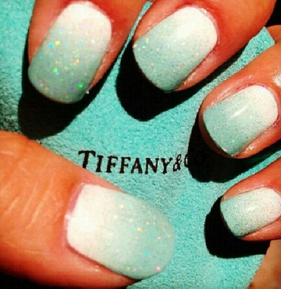 Sparkly Tiffany inspired nails. | Nails | Pinterest | Uñas