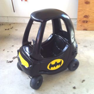 Batmobile! Repaint one of those faded push cars.  - look at how cute.  Great for when kids go from being a baby to a toddler!
