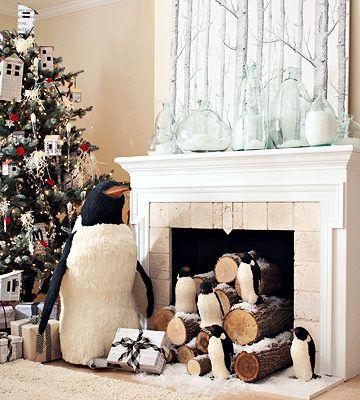 fireplace decorations penguins...cute