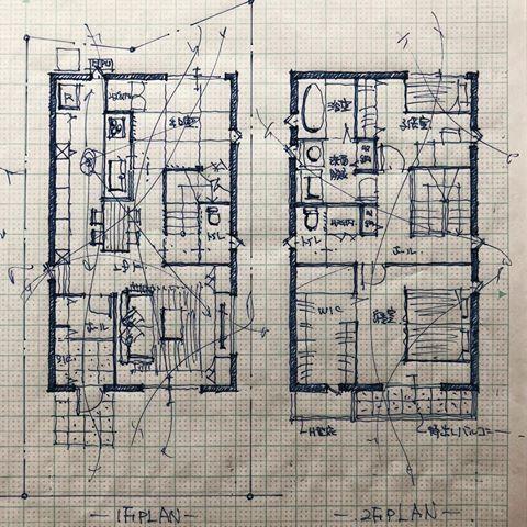 30坪三人家族の住まい 手描き 手書き マイホーム計画 間取り マイ
