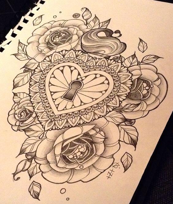 Padlock and flowers. Design by Nina, Beautiful Freak Tattoo, Belgium