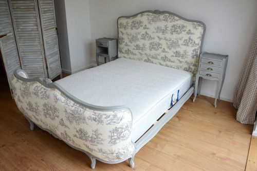 FRENCH BED -  DOUBLE DEMI CORBEILLE (TYPE 1) Available in your choice of paint and fabric at https://homeenvyinteriors.com/collections/french-beds