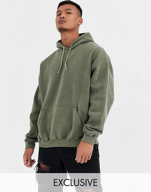 Reclaimed Vintage Inspired Oversized Hoodie In Green Overdye Asos In 2020 Vintage Hoodies Hoodie Outfit Men Oversized Outfit