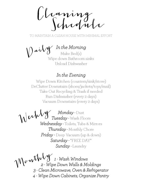 Weekly Cleaning Schedule  Cleaning Schedules Cleaning And Organizing