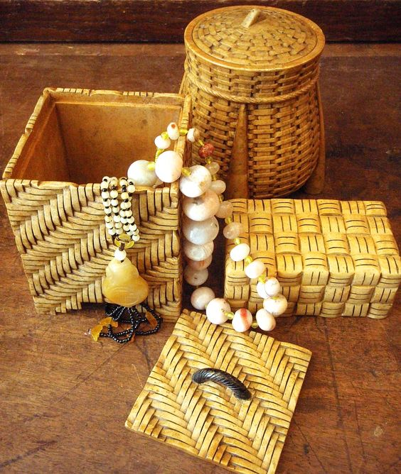 These carved soapstone boxes resemble woven cane and wicker.  Perfect for your jewelry stash!