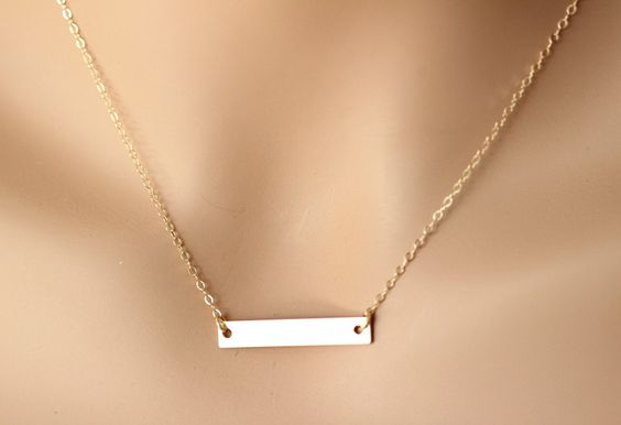 Personalized Gold Bar Monogram Necklace,Contemporary Bridesmaid's jewelry, Initial Rectangle necklace, Initial charm Necklace by rainbowearring on Etsy https://www.etsy.com/listing/178394149/personalized-gold-bar-monogram