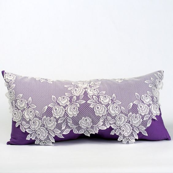 Shabby Chic Pillow, Victorian Pillow, Bridal Pillow, Adorned with Lace and Purple Fabric. $48.00, via Etsy.: