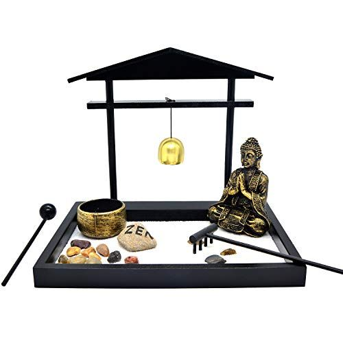SCZ05 HOMELEX Tabletop Zen Rock Garden Meditating Statue Bell Rake Sand Candle Burner Tray Home D/écor