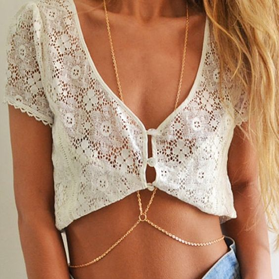 Simple Design Double Character Sexy Tassel Bodychain Gold