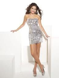 A short tight silver sparkly dress :D - Bold and beautiful :D ...