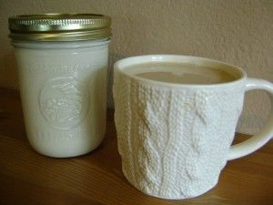 homemade vanilla coffee creamer. also repinning this because i'm kind of in love with that mug (it has cables!).