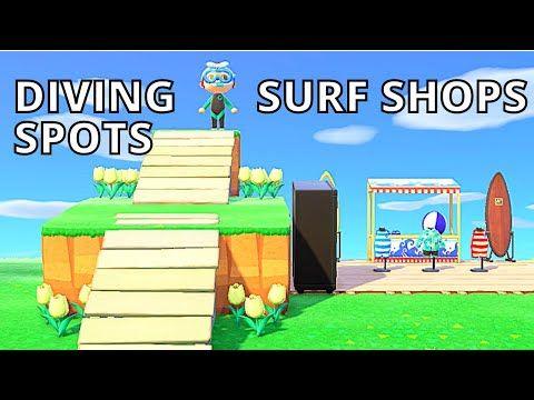 Easy Design Ideas Diving Spots Surf Shops Animal Crossing New Horizon Summer Update Tutorial Youtube In 2020 Animal Crossing Surfing Surf Shop