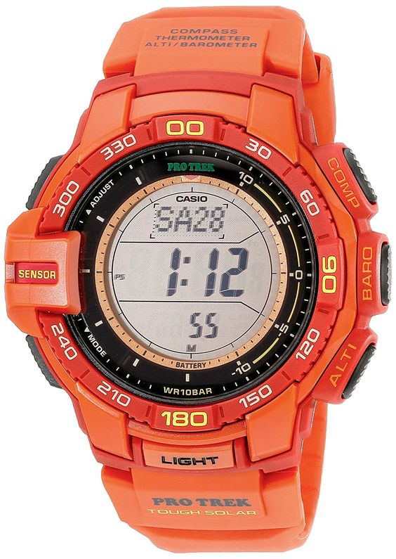 Casio Men's PRG-270-4ACR Pro Trek Red Resin Watch with Red Band >>> Want to know more about the watch, click on the image.