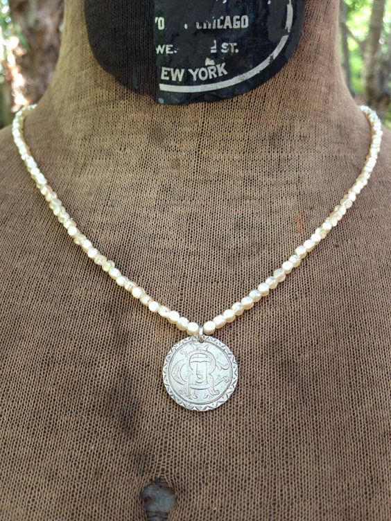 1890 Love Token C R A Beaded  Pearl  Necklace by renewedheirlooms, $140.00