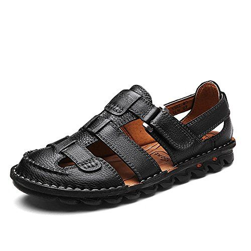 Genuine Leather Fashion Casual Shoes Slippers Breathable Beach Sandals Black 6.5 M US