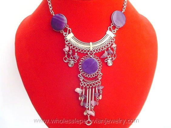 Purple Agate Stone Inca Necklacehttp://www.wholesaleperuvianjewelry.com