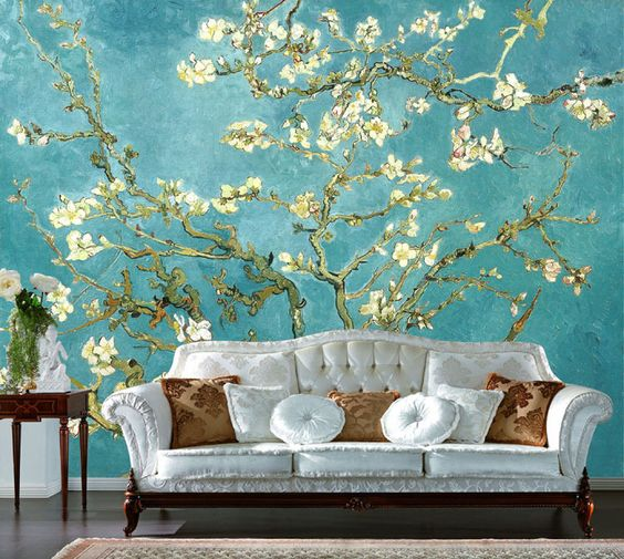 Van Gogh Wallpaper: Large Murals Of Europe Type Sofa TV Setting Wall Painting
