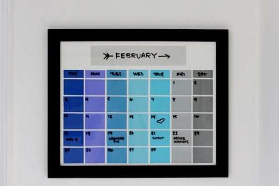 DIY | PAINT CHIP CALENDAR (The Band Wife) | DIY 2: http://mapleandmagnolia.com/paint-chip-calendar/