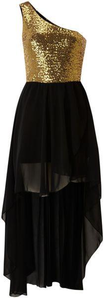 JOHN ZACK ENGLAND One Shoulder Sequin High Low Dress