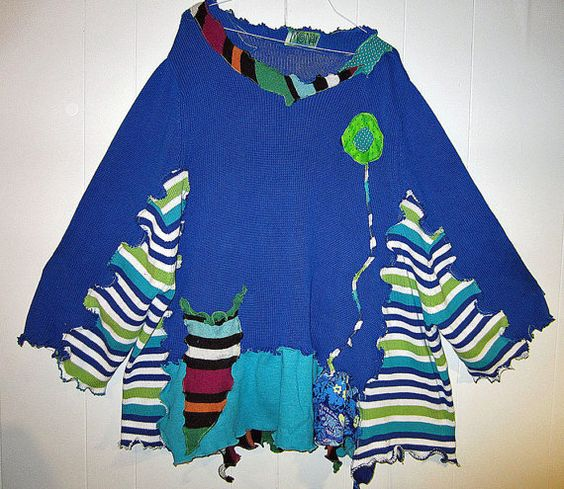 Royal Blue Funky upcycled over sized cotton sweater by monapaints, $220.00